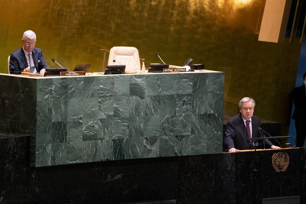 联合国秘书长古特雷斯向联合国大会致辞,阐述他担任下一届联合国秘书长的愿景。